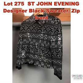 Lot 275 ST JOHN EVENING Designer Black Sweater. Zip front