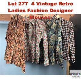 Lot 277 4 Vintage Retro Ladies Fashion Designer Blouses.