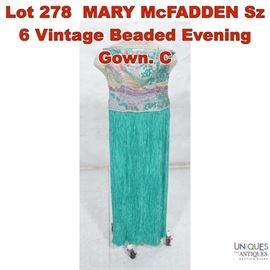 Lot 278 MARY McFADDEN Sz 6 Vintage Beaded Evening Gown. C