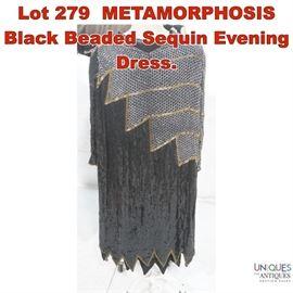 Lot 279 METAMORPHOSIS Black Beaded Sequin Evening Dress.