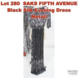 Lot 280 SAKS FIFTH AVENUE Black Silk Evening Dress Metall
