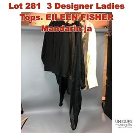 Lot 281 3 Designer Ladies Tops. EILEEN FISHER Mandarin ja
