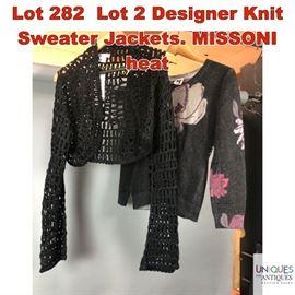 Lot 282 Lot 2 Designer Knit Sweater Jackets. MISSONI heat