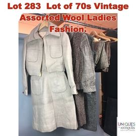 Lot 283 Lot of 70s Vintage Assorted Wool Ladies Fashion.