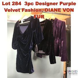 Lot 284 3pc Designer Purple Velvet Fashion. DIANE VON FUR