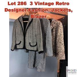 Lot 286 3 Vintage Retro Designer Fashion. Jackets, Blazer