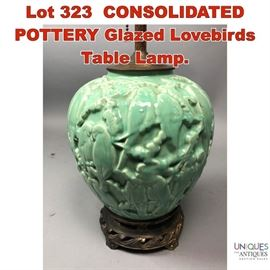 Lot 323 CONSOLIDATED POTTERY Glazed Lovebirds Table Lamp.