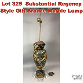 Lot 325 Substantial Regency Style Gilt Bronze Marble Lamp