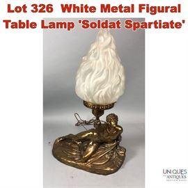 Lot 326 White Metal Figural Table Lamp Soldat Spartiate