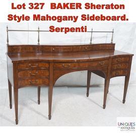 Lot 327 BAKER Sheraton Style Mahogany Sideboard. Serpenti