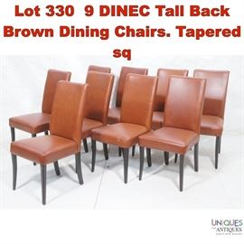Lot 330 9 DINEC Tall Back Brown Dining Chairs. Tapered sq