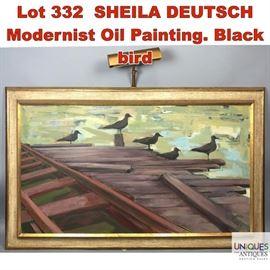 Lot 332 SHEILA DEUTSCH Modernist Oil Painting. Black bird
