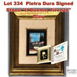Lot 334 Pietra Dura Signed Stone
