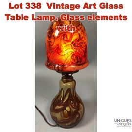 Lot 338 Vintage Art Glass Table Lamp. Glass elements with
