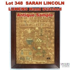 Lot 348 SARAH LINCOLN LUKENS Hand Stitched Antique Sample