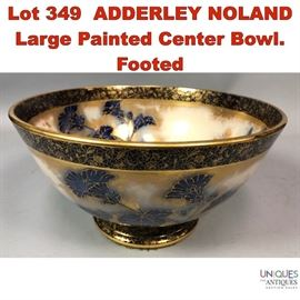 Lot 349 ADDERLEY NOLAND Large Painted Center Bowl. Footed