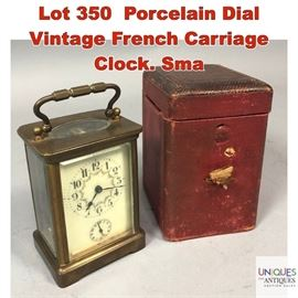 Lot 350 Porcelain Dial Vintage French Carriage Clock. Sma