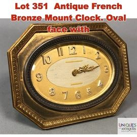 Lot 351 Antique French Bronze Mount Clock. Oval face with