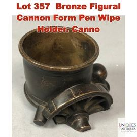 Lot 357 Bronze Figural Cannon Form Pen Wipe Holder. Canno