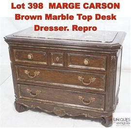 Lot 398 MARGE CARSON Brown Marble Top Desk Dresser. Repro