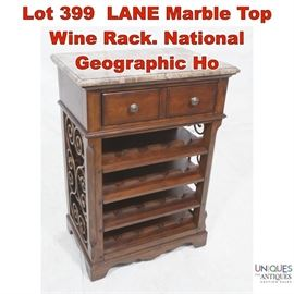 Lot 399 LANE Marble Top Wine Rack. National Geographic Ho