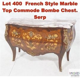 Lot 400 French Style Marble Top Commode Bombe Chest. Serp