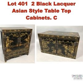 Lot 401 2 Black Lacquer Asian Style Table Top Cabinets. C