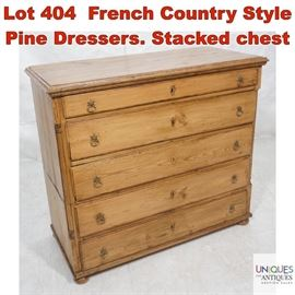 Lot 404 French Country Style Pine Dressers. Stacked chest
