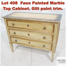 Lot 408 Faux Painted Marble Top Cabinet. Gilt paint trim.
