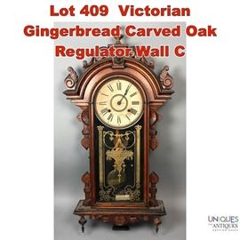 Lot 409 Victorian Gingerbread Carved Oak Regulator Wall C