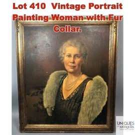 Lot 410 Vintage Portrait Painting Woman with Fur Collar.