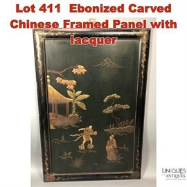 Lot 411 Ebonized Carved Chinese Framed Panel with lacquer