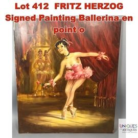 Lot 412 FRITZ HERZOG Signed Painting Ballerina en point o