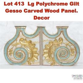 Lot 413 Lg Polychrome Gilt Gesso Carved Wood Panel. Decor