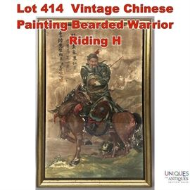 Lot 414 Vintage Chinese Painting Bearded Warrior Riding H