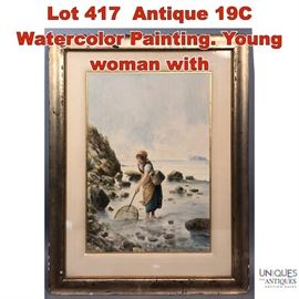 Lot 417 Antique 19C Watercolor Painting. Young woman with