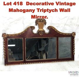 Lot 418 Decorative Vintage Mahogany Triptych Wall Mirror.