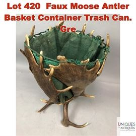 Lot 420 Faux Moose Antler Basket Container Trash Can. Gre