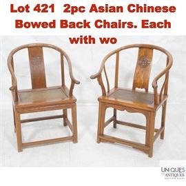 Lot 421 2pc Asian Chinese Bowed Back Chairs. Each with wo