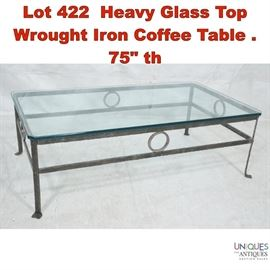 Lot 422 Heavy Glass Top Wrought Iron Coffee Table