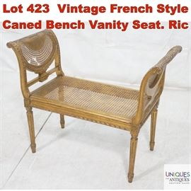 Lot 423 Vintage French Style Caned Bench Vanity Seat. Ric