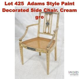 Lot 425 Adams Style Paint Decorated Side Chair. Cream gro