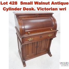 Lot 428 Small Walnut Antique Cylinder Desk. Victorian wri