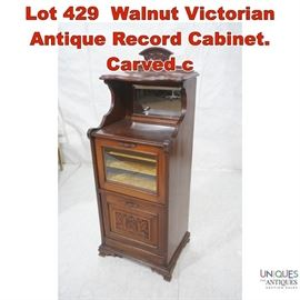 Lot 429 Walnut Victorian Antique Record Cabinet. Carved c