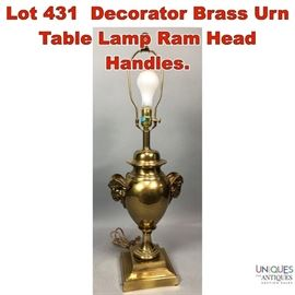 Lot 431 Decorator Brass Urn Table Lamp Ram Head Handles.