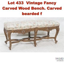 Lot 433 Vintage Fancy Carved Wood Bench. Carved bearded f