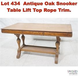 Lot 434 Antique Oak Snooker Table Lift Top Rope Trim.