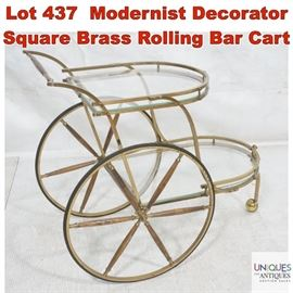 Lot 437 Modernist Decorator Square Brass Rolling Bar Cart