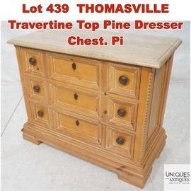 Lot 439 THOMASVILLE Travertine Top Pine Dresser Chest. Pi