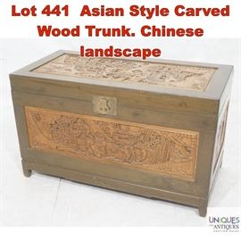 Lot 441 Asian Style Carved Wood Trunk. Chinese landscape